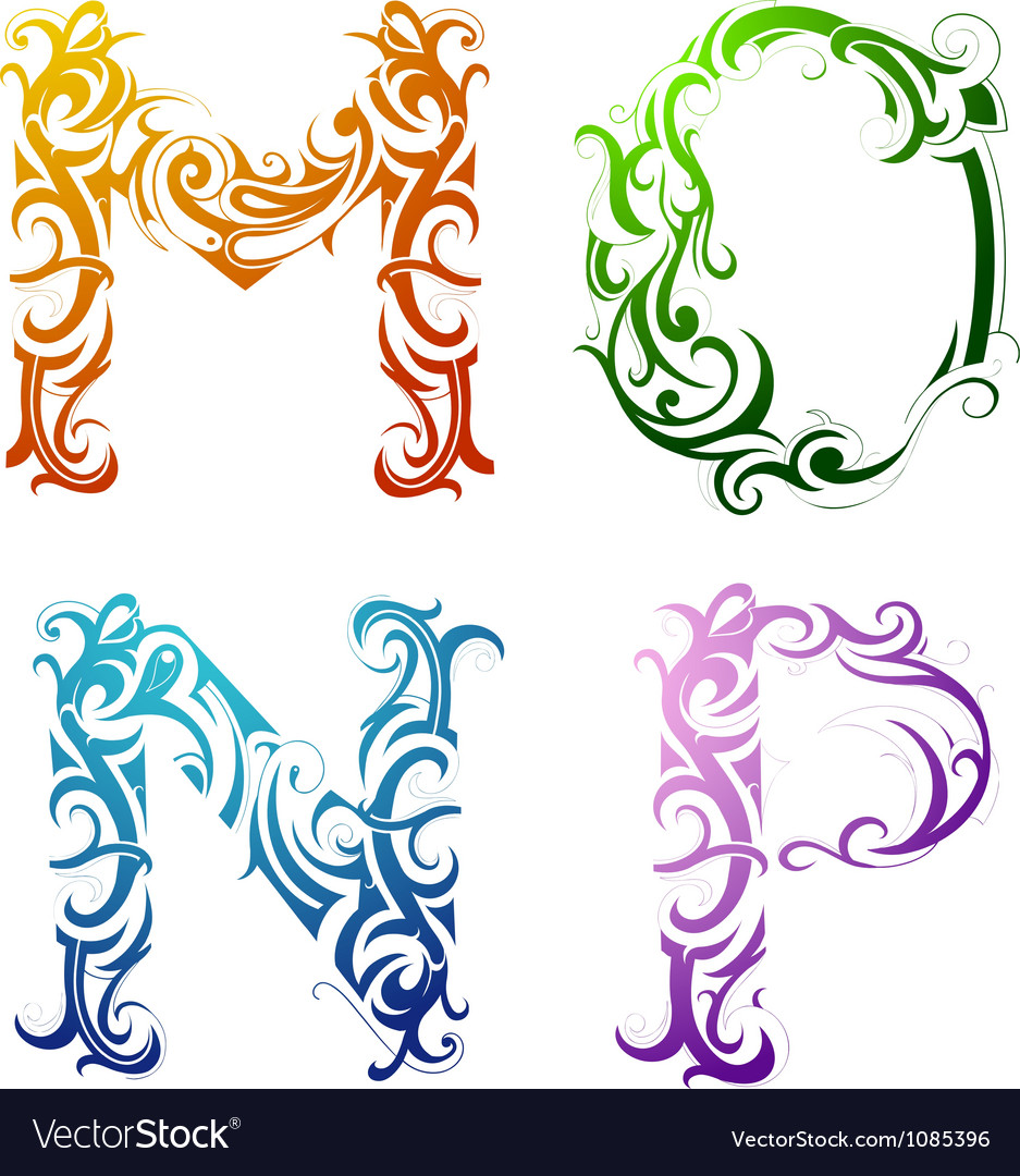 Tribal tattoo letters vector | Price: 1 Credit (USD $1)