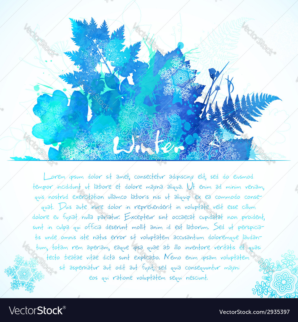 Blue watercolor painted winter leaves greeting vector | Price: 1 Credit (USD $1)