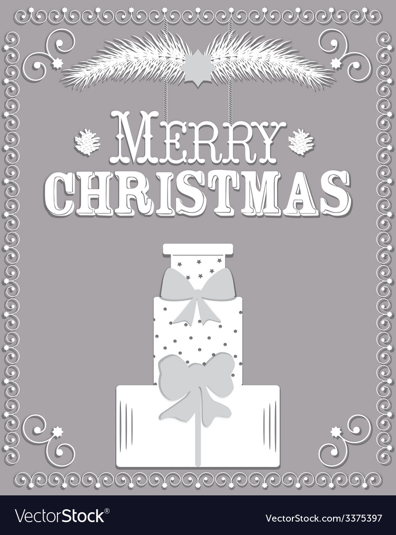 Christmas card in the style of carving paper vector   Price: 1 Credit (USD $1)