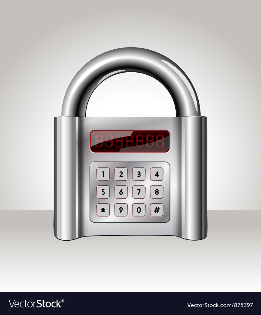Closed padlock with digital interface vector | Price: 1 Credit (USD $1)