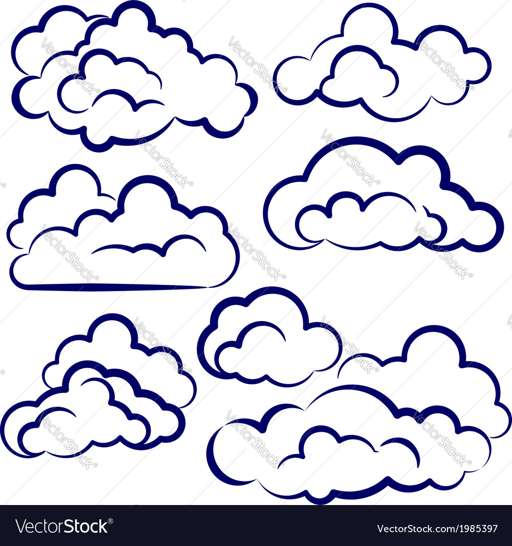 Clouds collection sketch cartoon vector | Price: 1 Credit (USD $1)