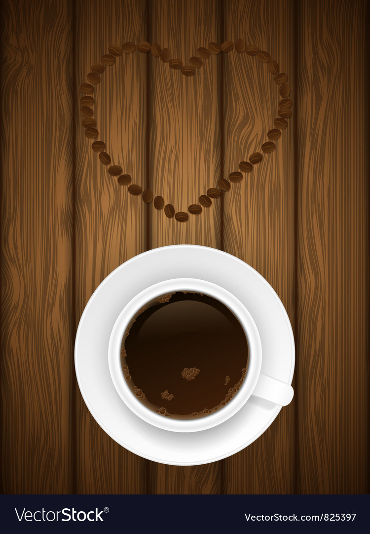 Coffe cup on wooden background vector | Price: 1 Credit (USD $1)