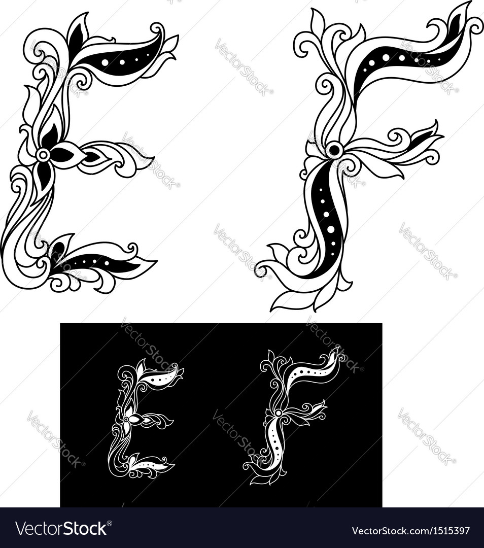Decorated capital letters e and f vector | Price: 1 Credit (USD $1)