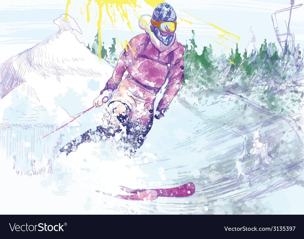 Downhill skier vector | Price: 1 Credit (USD $1)