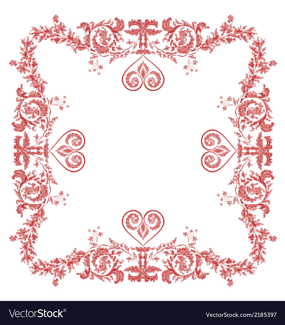Heart frame greeting and ornaments vector | Price: 1 Credit (USD $1)