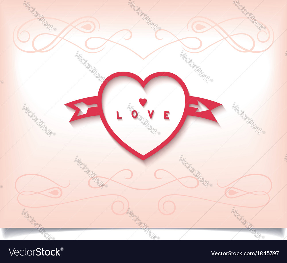 Heart with arrow and pattern vector | Price: 1 Credit (USD $1)