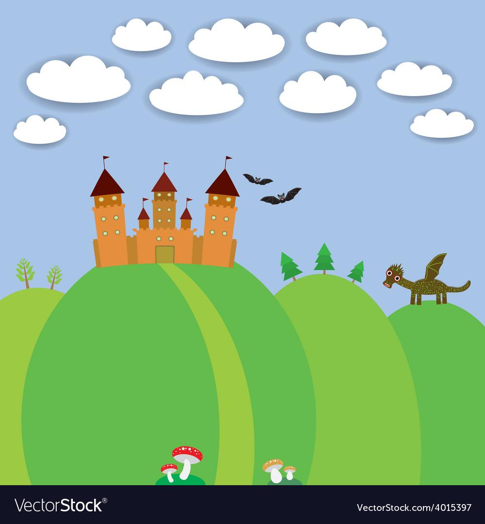 Landscape with castle wizard cartoon dragon bats vector | Price: 1 Credit (USD $1)