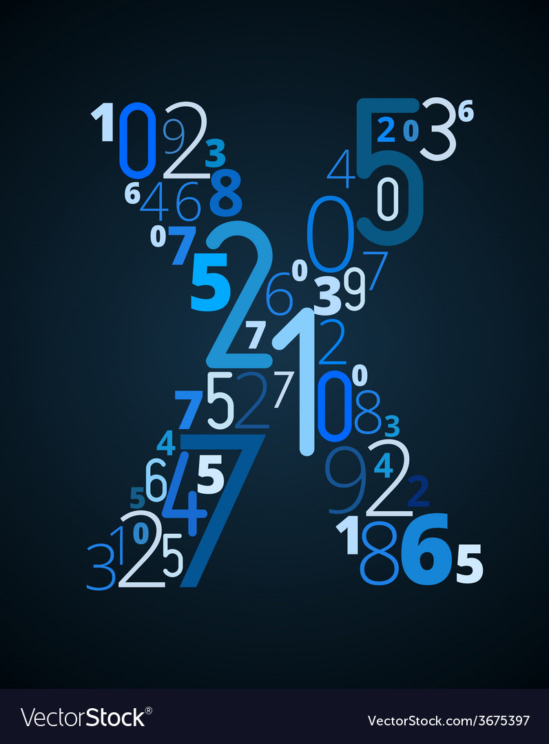 Letter x font from numbers vector | Price: 1 Credit (USD $1)