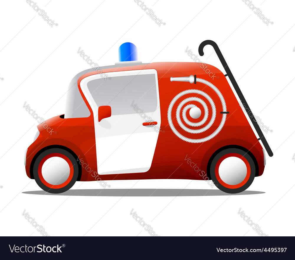 Mini cartoon red fire truck firefighter vector | Price: 1 Credit (USD $1)