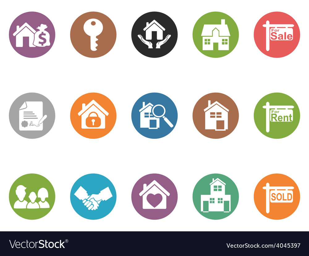 Real estate button icons vector | Price: 1 Credit (USD $1)