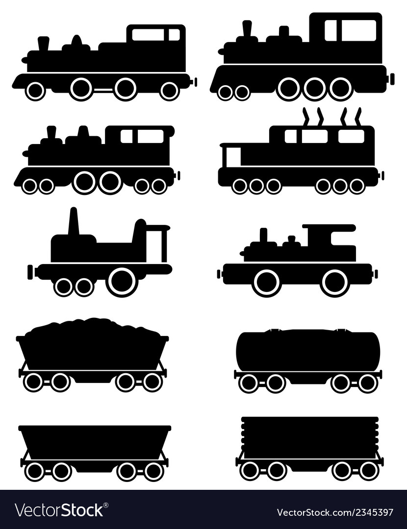 Set train and railroad car vector | Price: 1 Credit (USD $1)