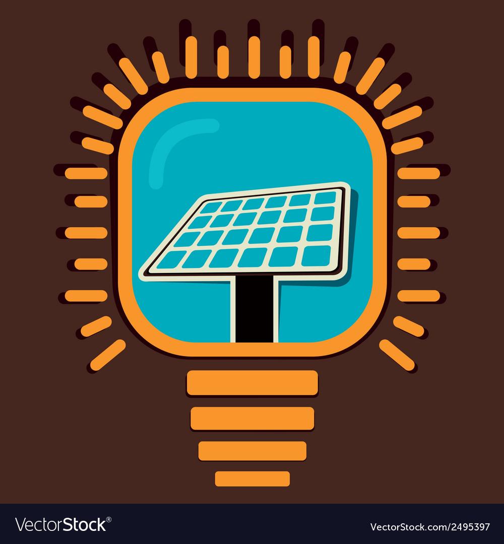 Solar panel icon in bulb concept vector | Price: 1 Credit (USD $1)