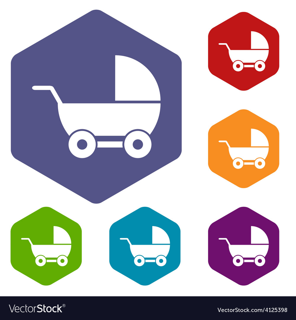 Baby carriage rhombus icons vector   Price: 1 Credit (USD $1)