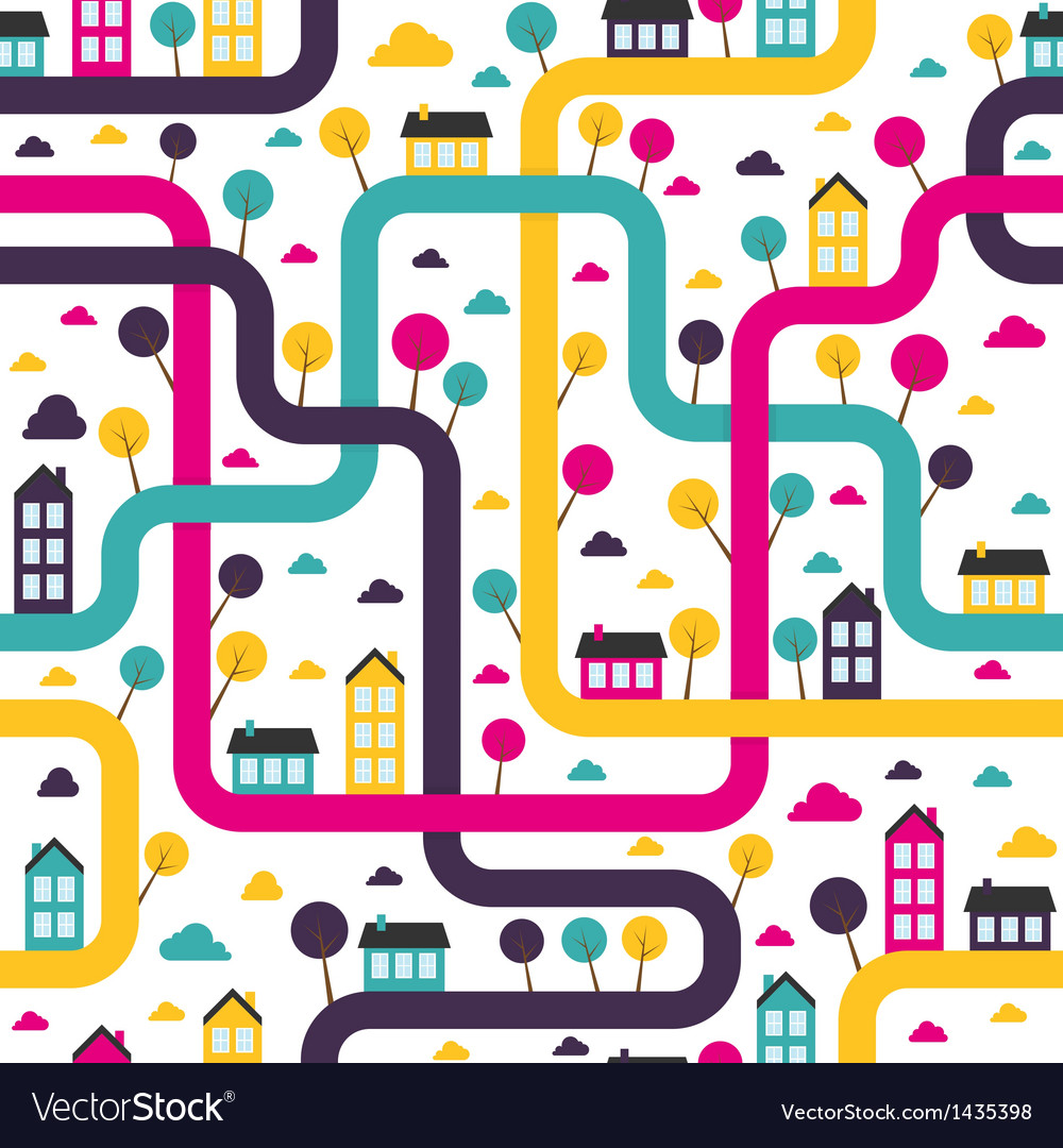 Background seamless pattern with abstract town vector | Price: 1 Credit (USD $1)