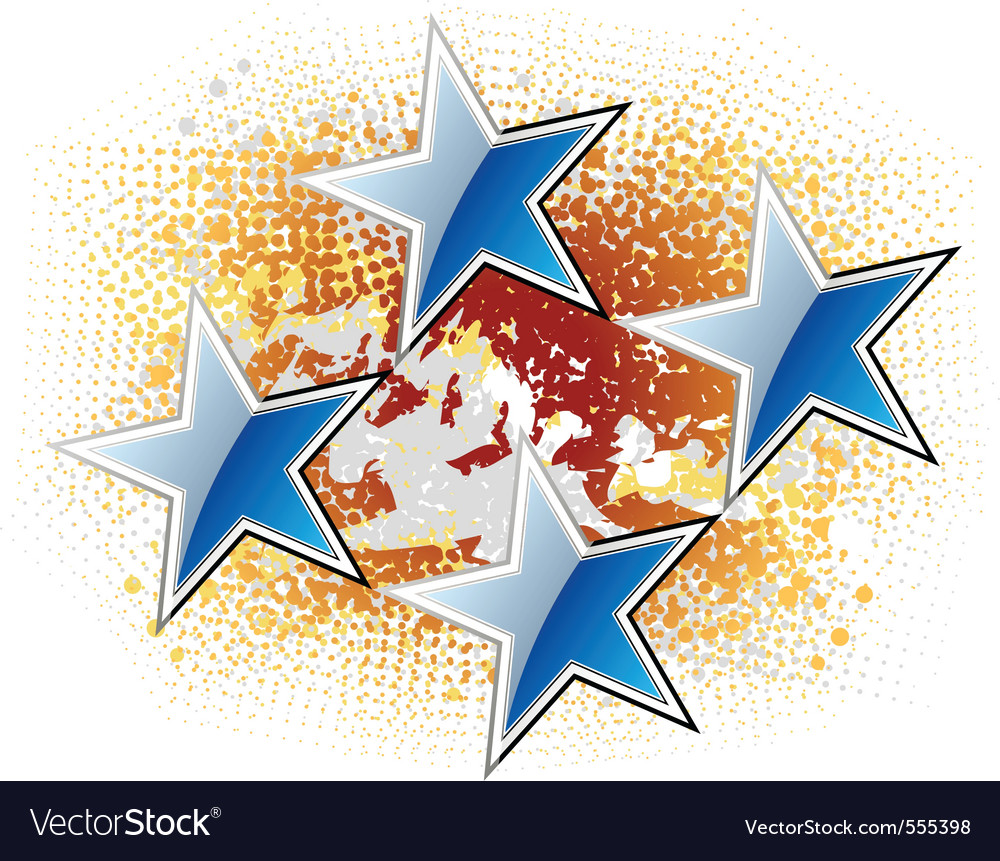 Blue stars on the gold background vector | Price: 1 Credit (USD $1)
