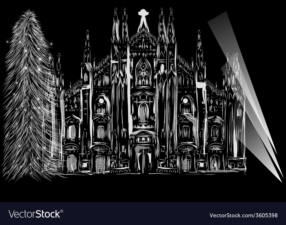Cathedral and christmas tree vector | Price: 1 Credit (USD $1)