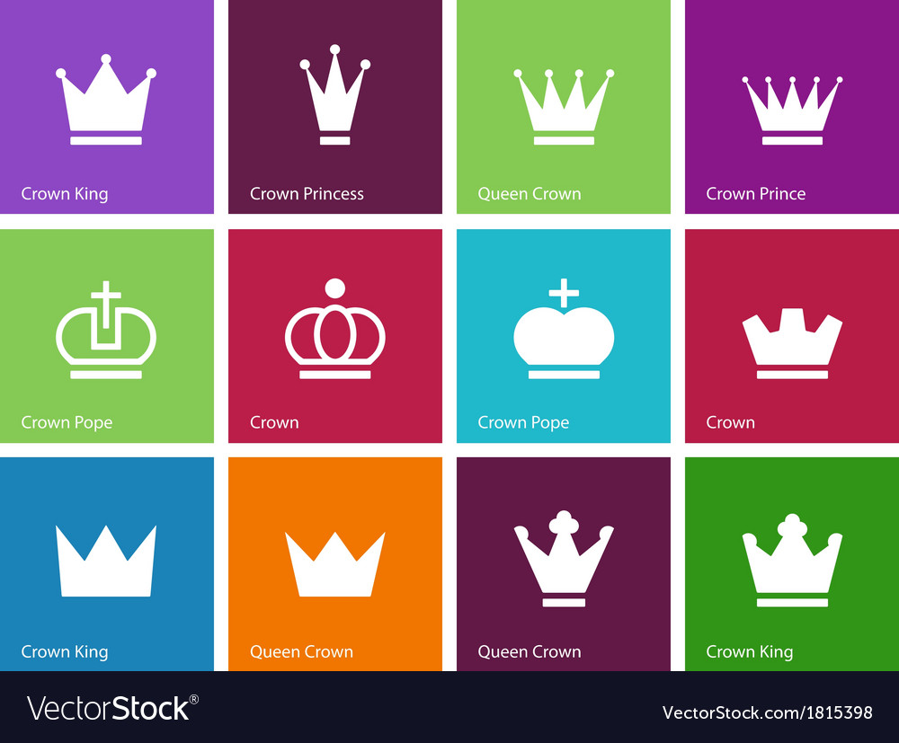 Crown icons on color background vector | Price: 1 Credit (USD $1)