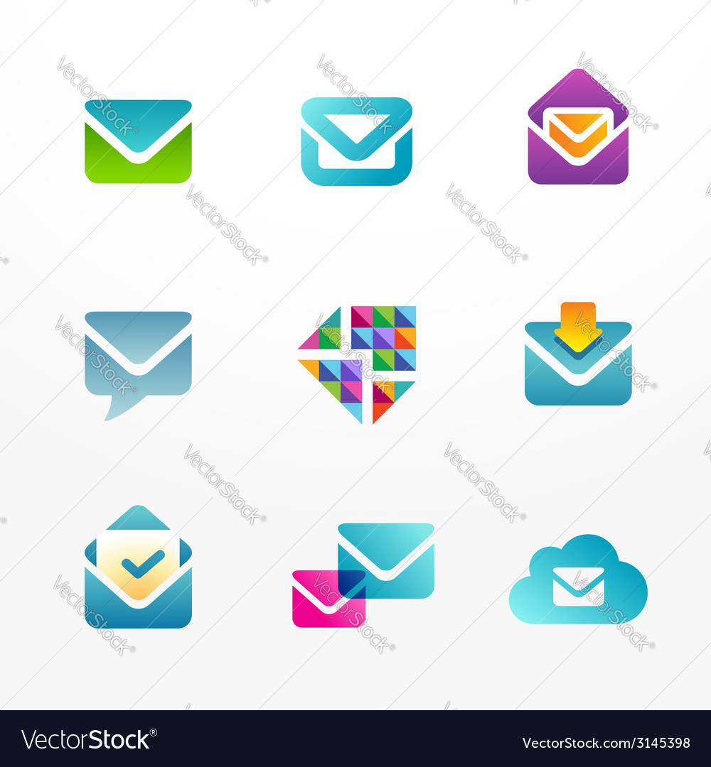 E-mail logo icon set based on envelope symbol vector | Price: 1 Credit (USD $1)