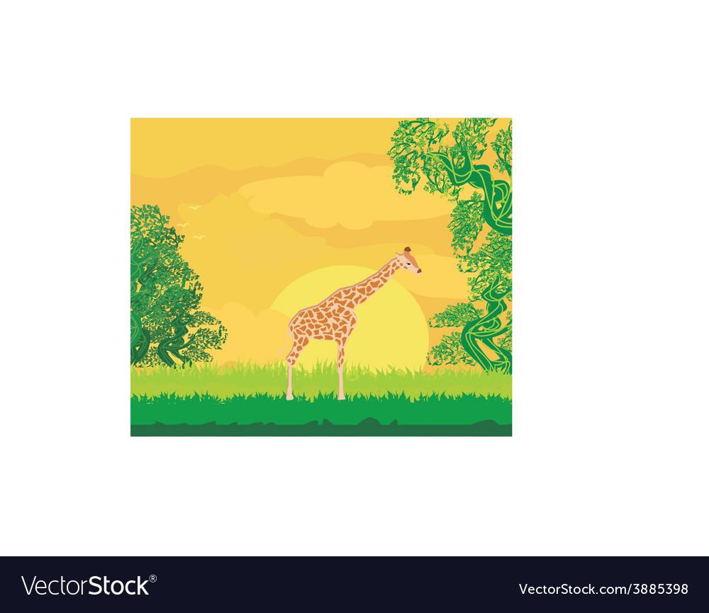 Giraffe in jungle landscape vector | Price: 1 Credit (USD $1)