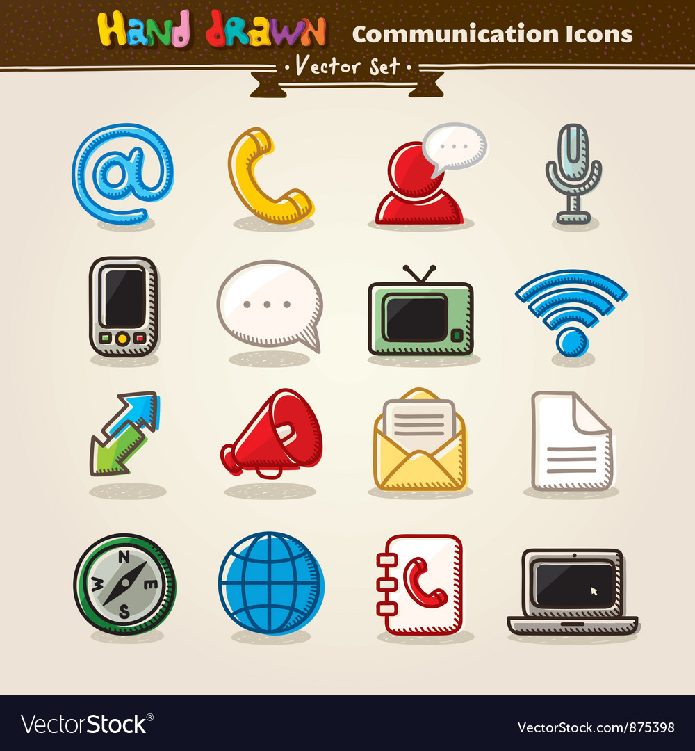 Hand draw communication icon set vector | Price: 1 Credit (USD $1)