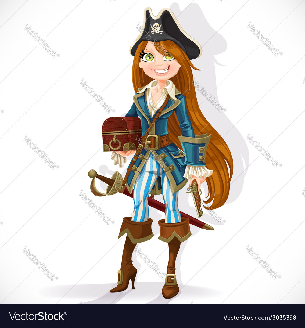 Pirate girl with pistol and chest vector | Price: 3 Credit (USD $3)