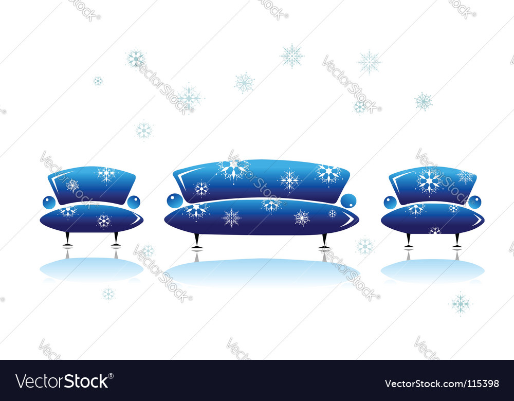 Sofa and armchair christmas design vector | Price: 1 Credit (USD $1)