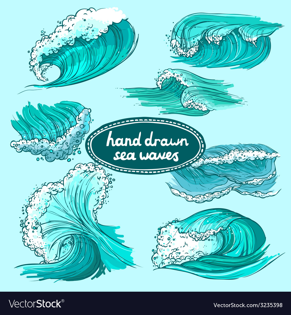 Waves icons set colored vector | Price: 1 Credit (USD $1)