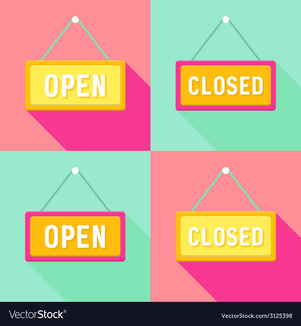 Yellow pink cyan open and closed signs set vector | Price: 1 Credit (USD $1)