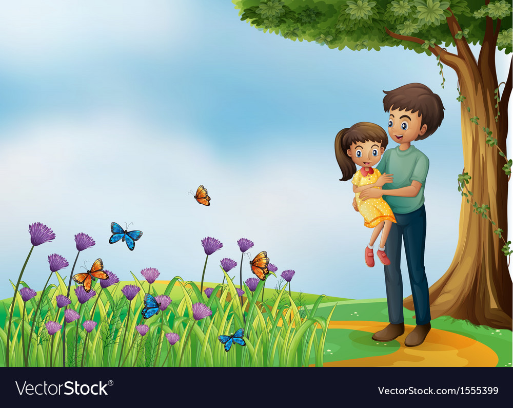 A girl and his father at the hilltop vector | Price: 3 Credit (USD $3)