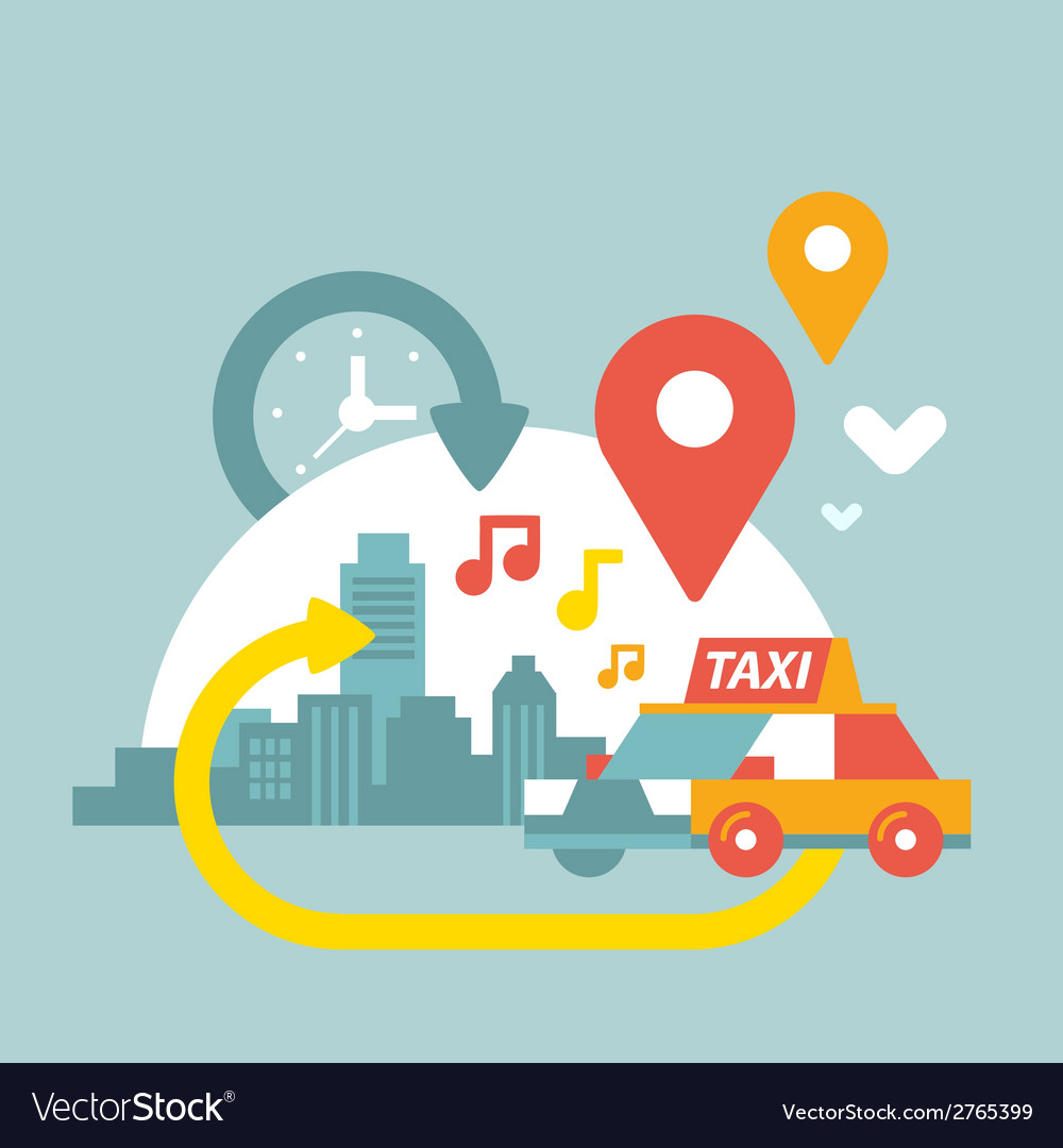 An urban life with taxi and geo location vector | Price: 1 Credit (USD $1)