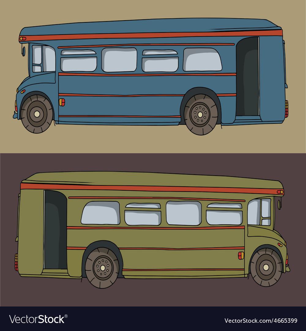 Cartoon bus cute design drawing vector | Price: 1 Credit (USD $1)