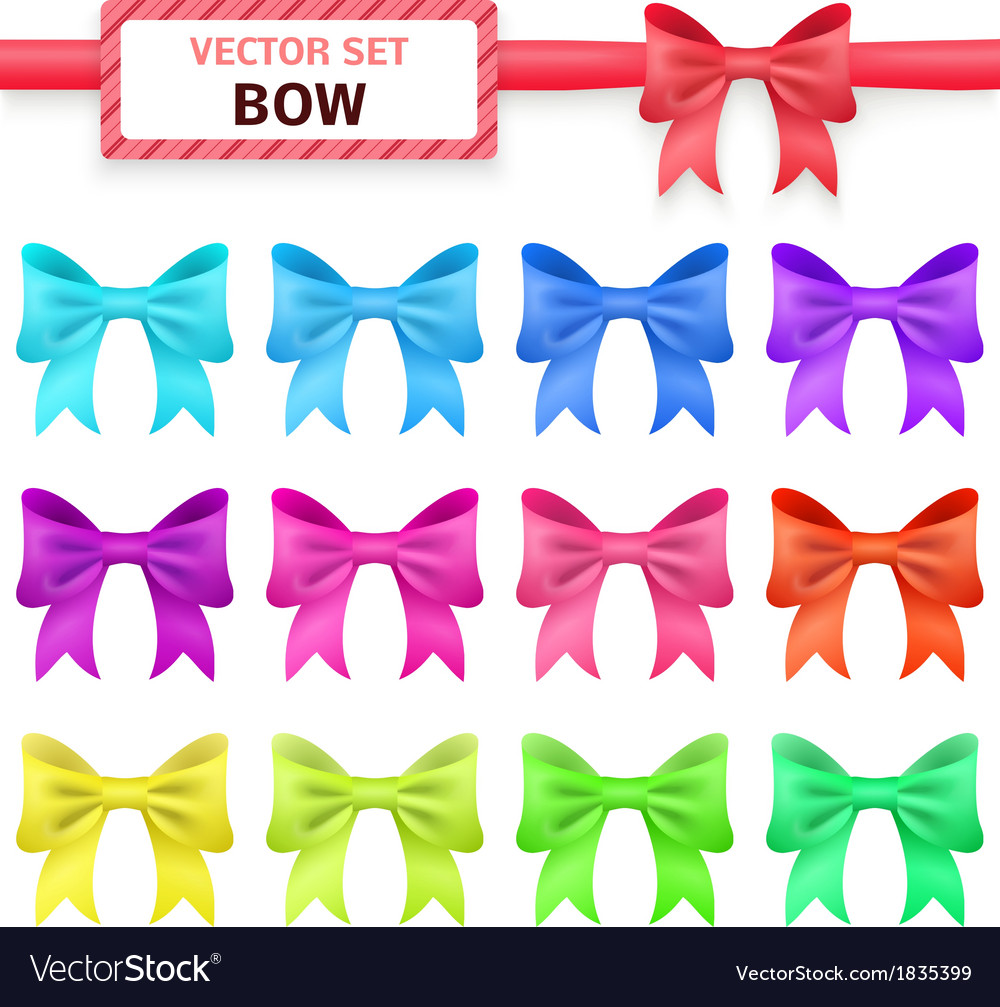 Collection colorful ribbon bows on white vector | Price: 1 Credit (USD $1)