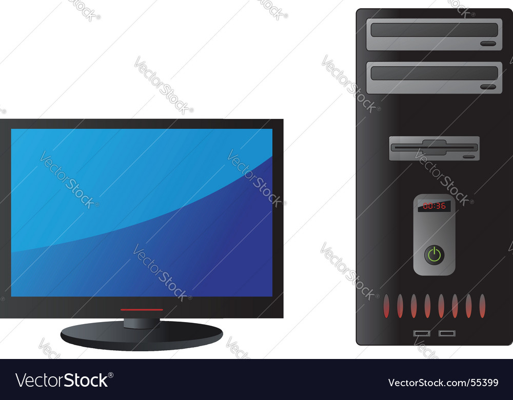 Computer and monitor vector | Price: 1 Credit (USD $1)