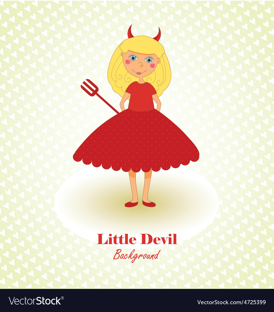 Cute little devil background vector | Price: 1 Credit (USD $1)