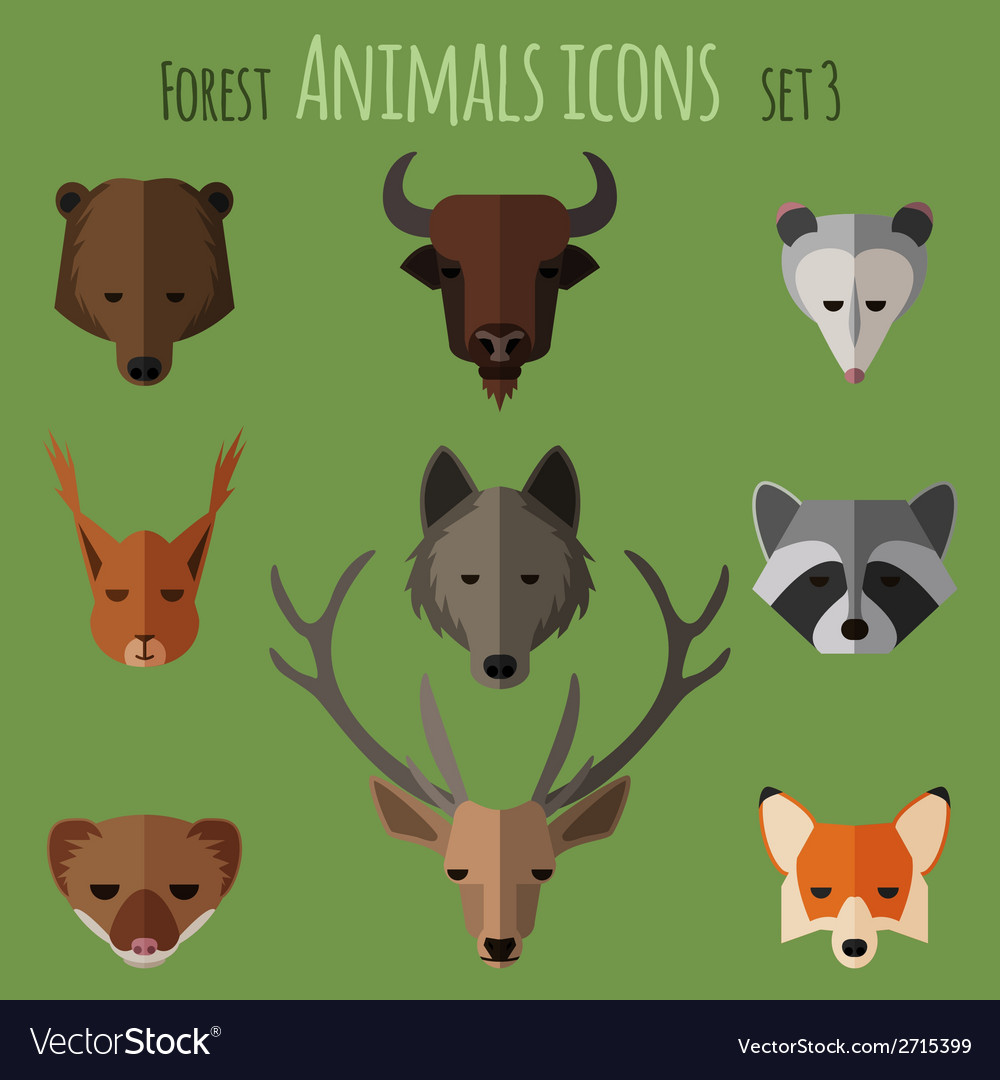 Forest animals flat icons set 1 vector | Price: 1 Credit (USD $1)