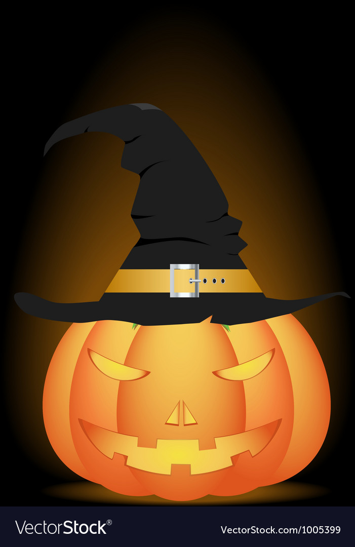 Halloween pumpkin in witch hat vector | Price: 1 Credit (USD $1)
