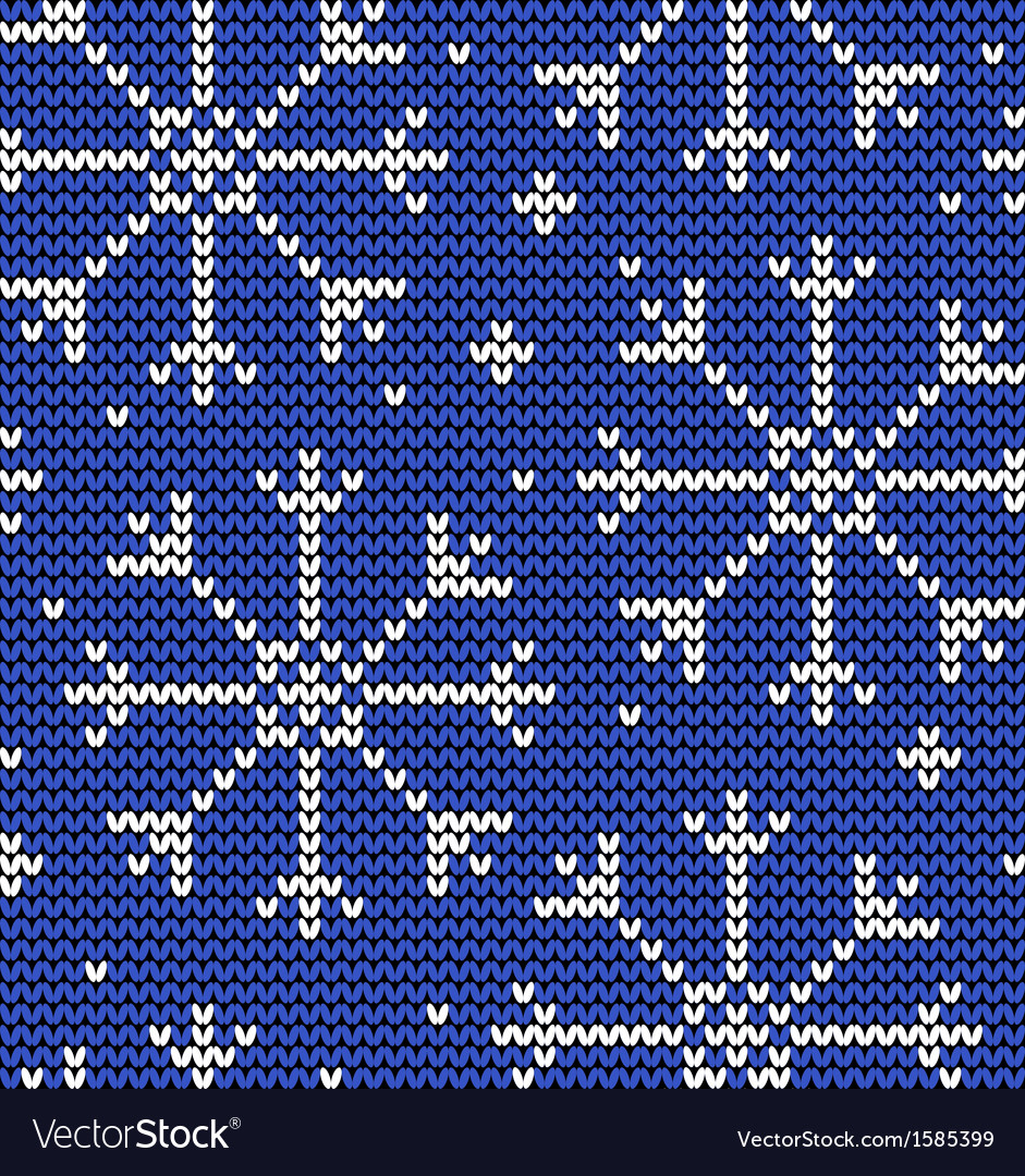 Knitted seamless winter pattern with snowflakes vector | Price: 1 Credit (USD $1)
