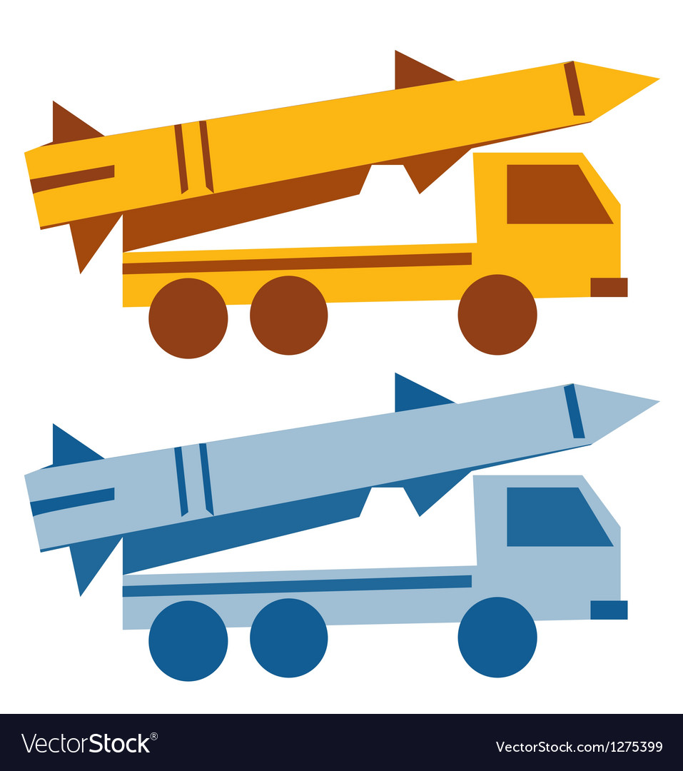 Military missile vehicle cartoon silhouette vector | Price: 1 Credit (USD $1)