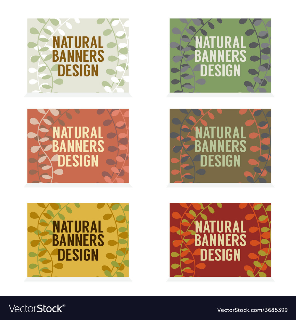 Natural banners design set vintage style vector | Price: 1 Credit (USD $1)