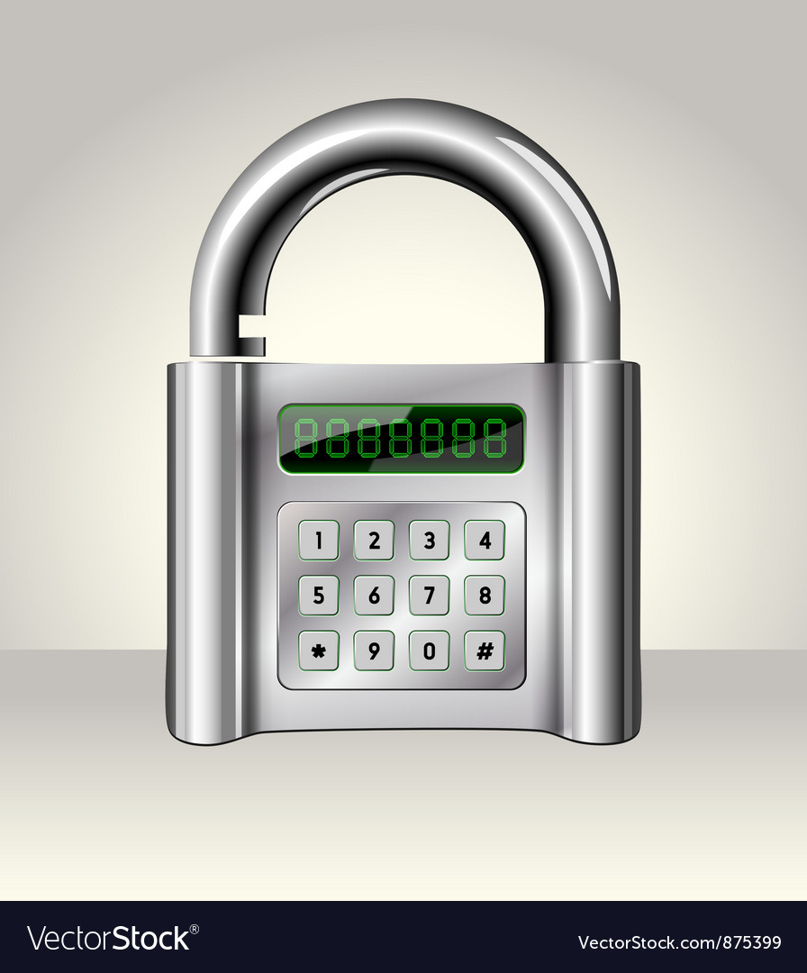 Opened padlock with digital interface vector | Price: 1 Credit (USD $1)