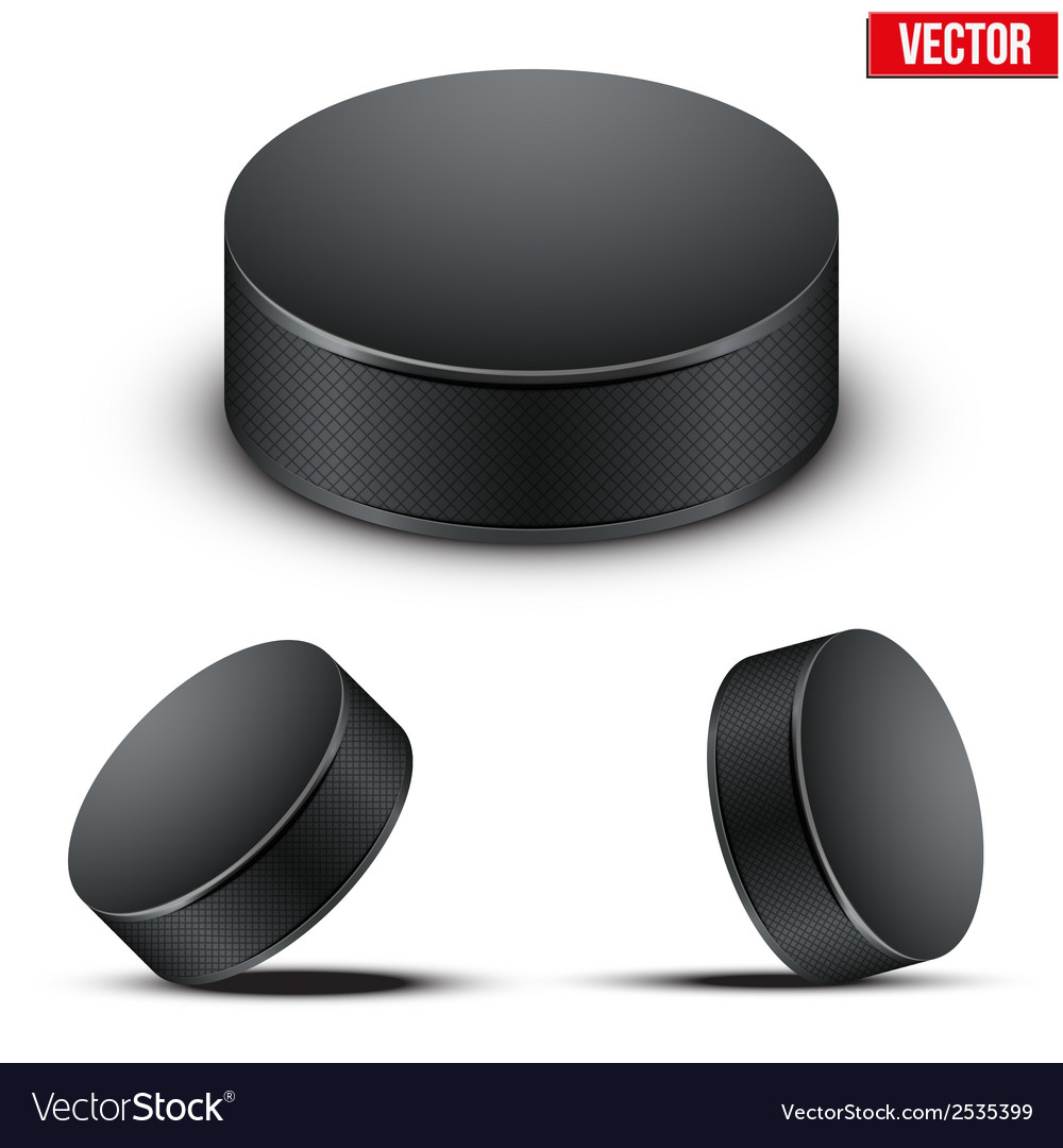 Set of black hockey pucks vector | Price: 1 Credit (USD $1)