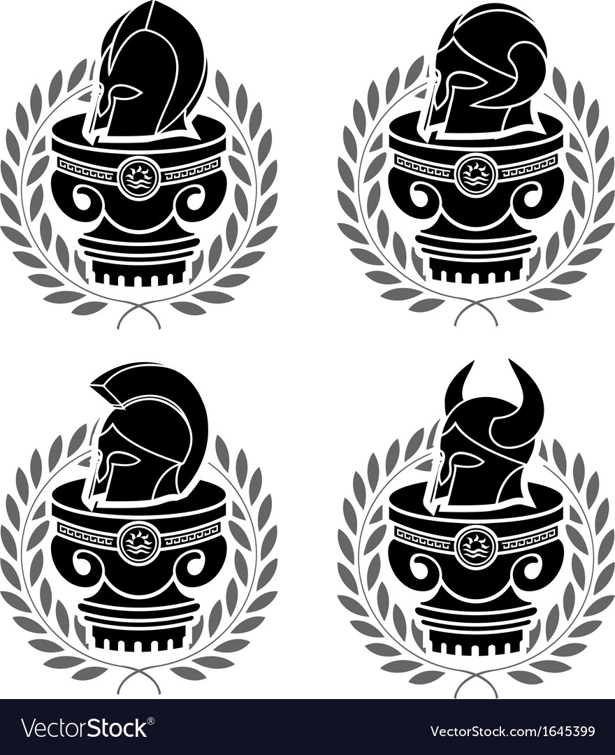 Set of medieval helmets vector | Price: 1 Credit (USD $1)