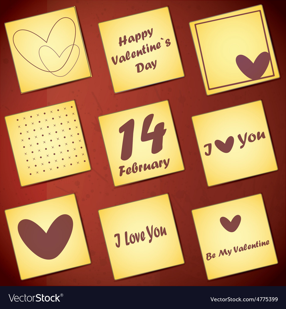 Set of nine valentine day gift card vector | Price: 1 Credit (USD $1)