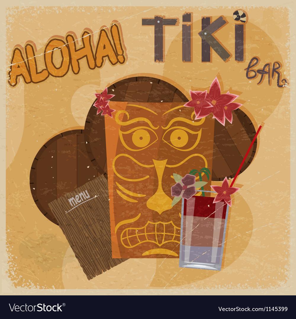 Vintage postcard featuring hawaiian masks guitars vector | Price: 1 Credit (USD $1)
