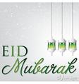 Lantern eid mubarak blessed eid card in format vector