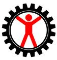 Icon of man in cog-wheel vector