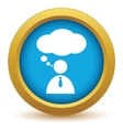Gold speaking people icon vector