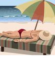 Woman sunbathes on the beach vector