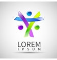 Logo element abstract people icon design vector