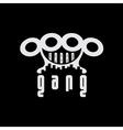 Urban gang emblem with brass knuckles vector